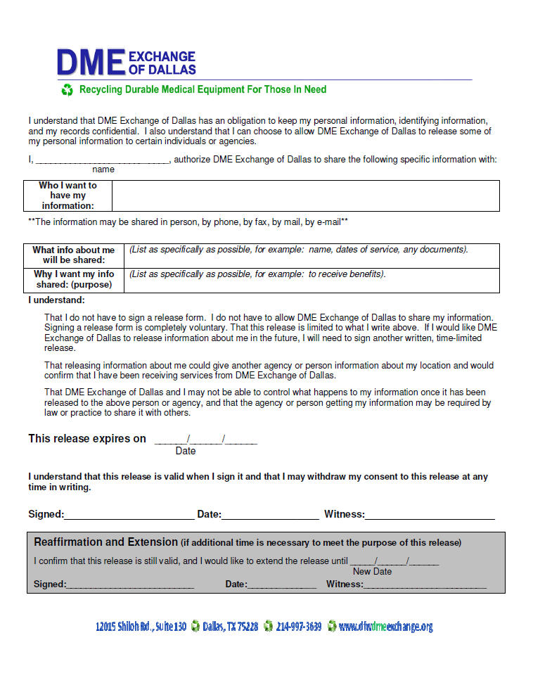 Patient Application Forms | DFW DME Exchange of Dallas, Inc.
